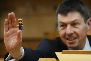 Presiding Officer Ken Macintosh MSP was joined by mini a 'Presiding Officer' in the form of a LEGO mini figure to launch This year's Festival of Politics which will see political statesmen, big thinkers, Borgen and even LEGO® come together at Holyrood.  Political statesmen such as the Rt Hon Sir Vince Cable and Chris Mullin will take part in panels in the Debating Chamber. Elsewhere, there will be a chance for children (of all ages) to build a giant vertical map of Scotland made entirely from LEGO® 15 June 2016.    Pic - Andrew Cowan/Scottish Parliament
