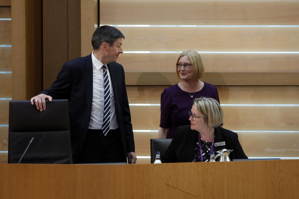 Tricia Marwick MSP congratulates Ken Macintosh MSP as he is elected Presiding Officer of the Scottish Parliament by a secret ballot of MSPs, 12 May 2016 Pic - Andrew Cowan/Scottish Parliament
