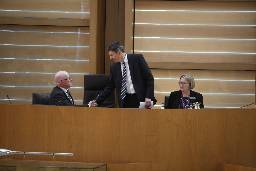 CLerk/Chief Executive Paul Grice greets Ken Macintosh MSP as he is elected Presiding Officer of the Scottish Parliament by a secret ballot of MSPs, 12 May 2016 Pic - Andrew Cowan/Scottish Parliament
