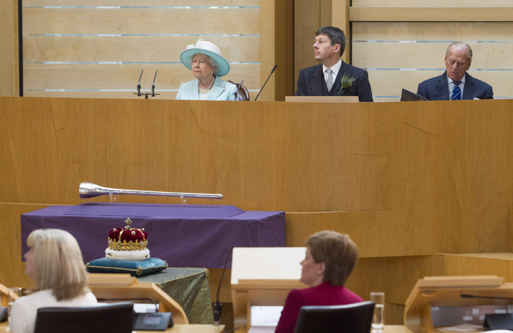 Her Majesty Queen Elizabeth at the Opening of the first session of the Scottish Parliament. June 2 2016.