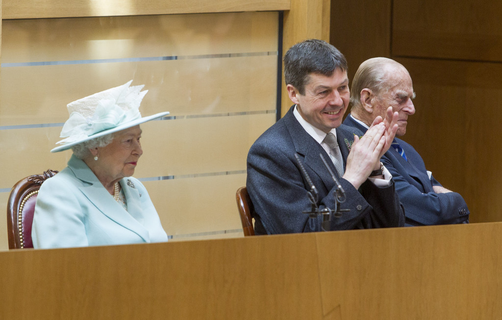 Her Majesty Queen Elizabeth and Prince Phillip with the Presiding Office Ken MacIntosh at the Opening of the first session of the Scottish Parliament. June 2 2016.