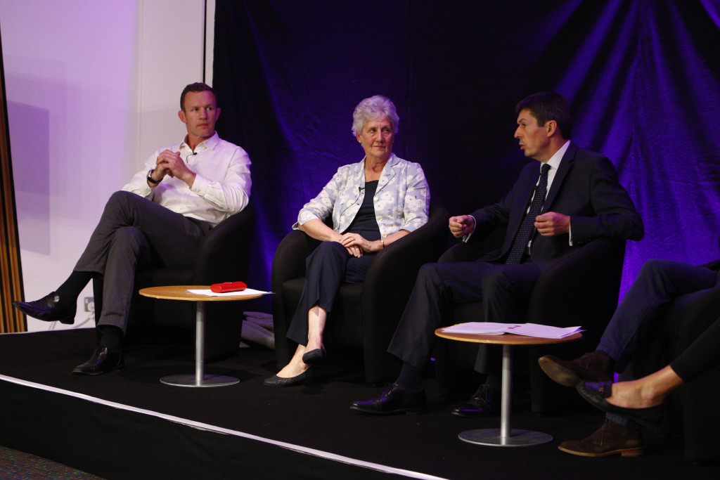 (L-R)Jason White, former Scotland rugby captain and British and Irish Lion; Louise Martin CBE, President of the Commonwealth Games Federation and   Presiding Officer Ken Macintosh MSP. After the high of the Commonwealth Games in Glasgow in 2014 and the promises to raise the bar and embed sport in the lives of all Scottish people, are we on track to achieve gold in the effort and outcome race?  Join panellists Louise Martin CBE, President of the Commonwealth Games Federation; Eve Muirhead, 2014 Olympic medallist and 2013 World Champion curler; Jason White, former Scotland rugby captain and British and Irish Lion; and Gordon Strachan, manager of the Scottish national football team and former player. Chaired by Presiding Officer Ken Macintosh MSP.18 August 2016.  Pic - Andrew Cowan/Scottish Parliament