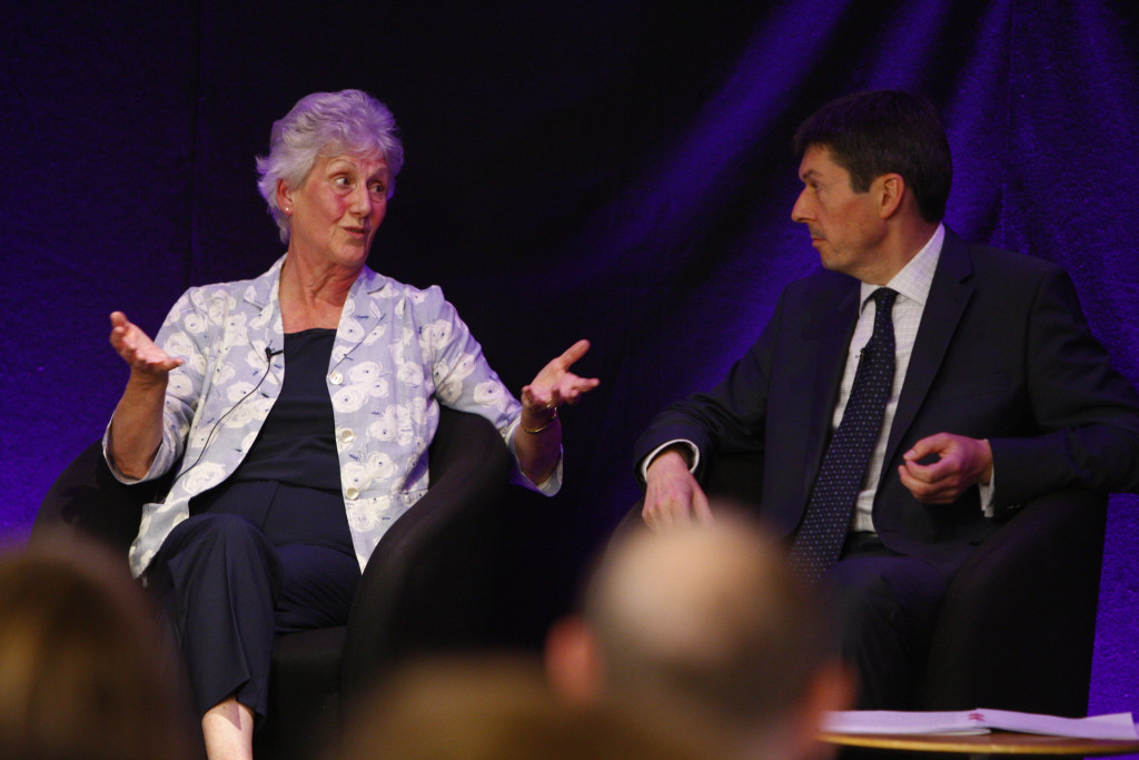(L-R)Louise Martin CBE, President of the Commonwealth Games Federation and   Presiding Officer Ken Macintosh MSP. After the high of the Commonwealth Games in Glasgow in 2014 and the promises to raise the bar and embed sport in the lives of all Scottish people, are we on track to achieve gold in the effort and outcome race?  Join panellists Louise Martin CBE, President of the Commonwealth Games Federation; Eve Muirhead, 2014 Olympic medallist and 2013 World Champion curler; Jason White, former Scotland rugby captain and British and Irish Lion; and Gordon Strachan, manager of the Scottish national football team and former player. Chaired by Presiding Officer Ken Macintosh MSP.18 August 2016.  Pic - Andrew Cowan/Scottish Parliament