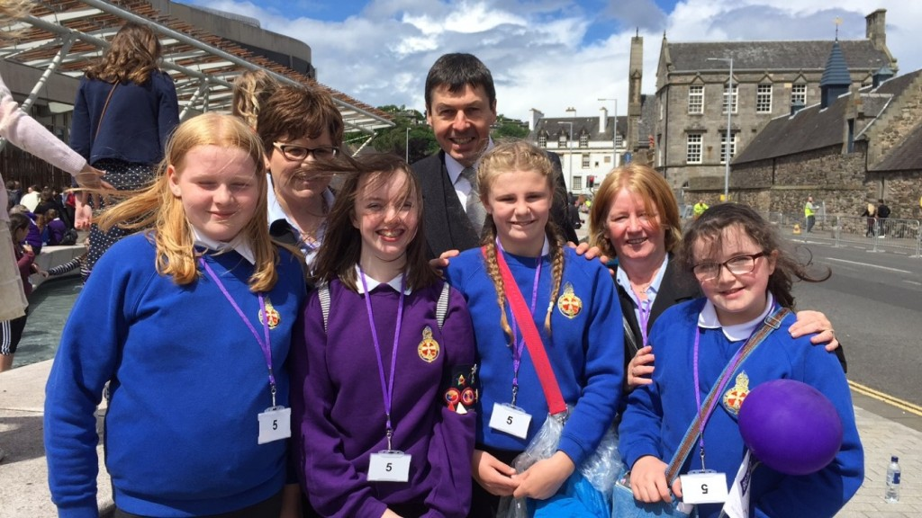 With representatives from the Girls Brigade