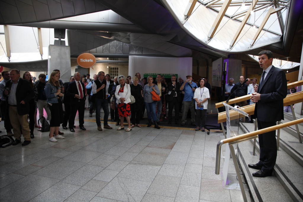 Presiding Officer Ken Macintosh MSP opens the 2016 Festival of Politics Cafe bar.18 August 2016.  Pic - Andrew Cowan/Scottish Parliament