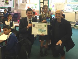 Proud moment for Alice and her dad at Braidbar Primary