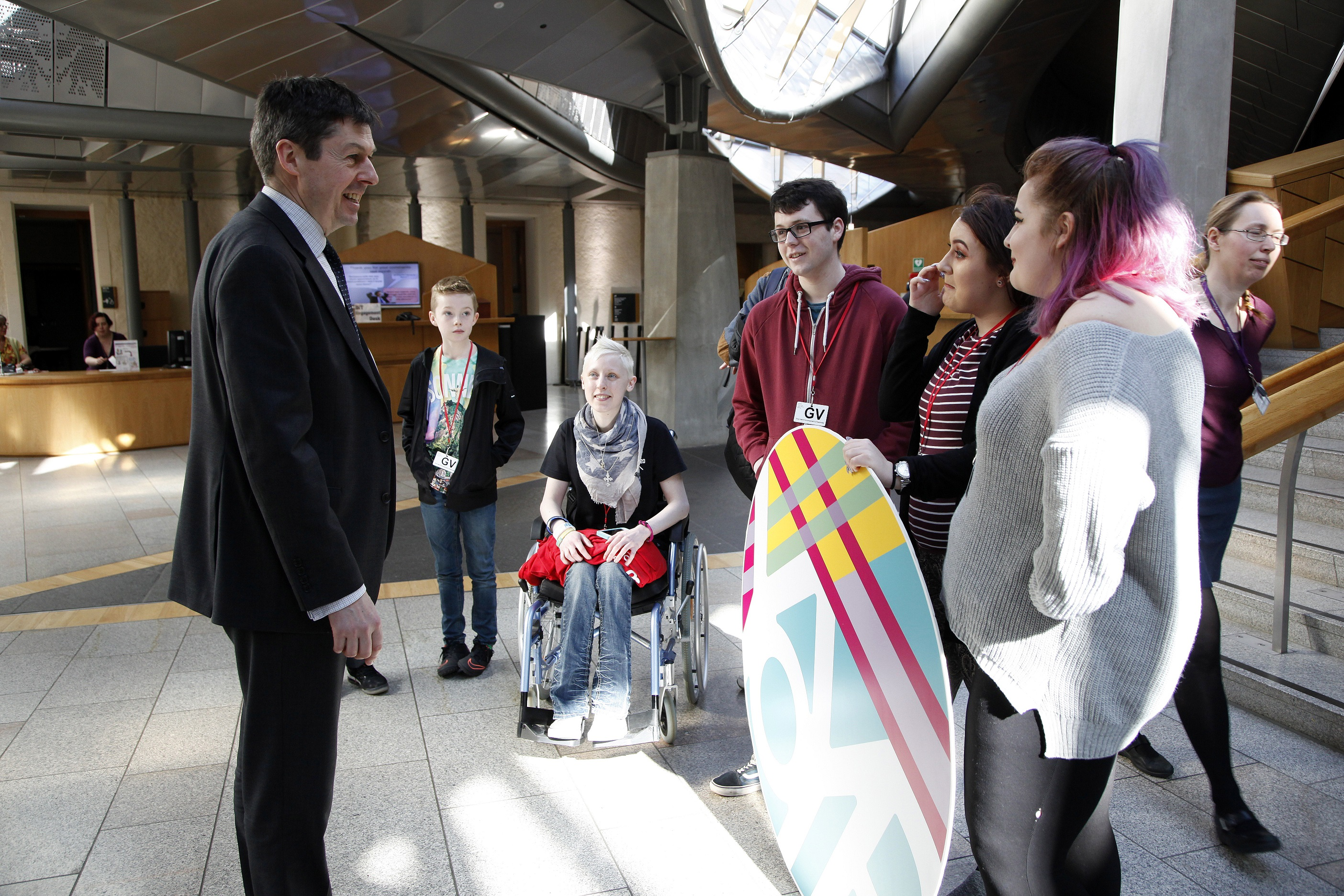 Presiding Officer Ken Macintosh MSP is joined by members of Young Scot as they launch the logo for 2018 the Year of Young People in the garden lobby at the Scottish Parliaemnt. 21 March 2017. Pic - Andrew Cowan/Scottish Parliament