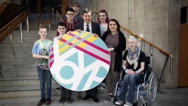 Presiding Officer Ken Macintosh MSP is joined by members of Young Scot as they launch the logo for 2018 the Year of Young People in the garden lobby at the Scottish Parliaemnt. (L-R) Ben Gray 11 and Lweis McLelland 11 FLora Stevenson School, Ian Ross, Allan Cater, PO, Megan McIntyre LGBT Youth Scot, Emmie Main, Young Scott and Rachael McCully MSYP. 21 March 2017. Pic - Andrew Cowan/Scottish Parliament