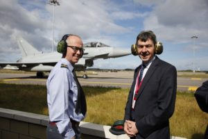Viewing an RAF Typhoon aircraft during fact finding visit to RAF Lossiemouth. Pic - Andrew Cowan/Scottish Parliament