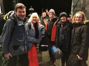 Ken alongside members of Greenbank Parish Church, Clarkston taking part in the sleep out.